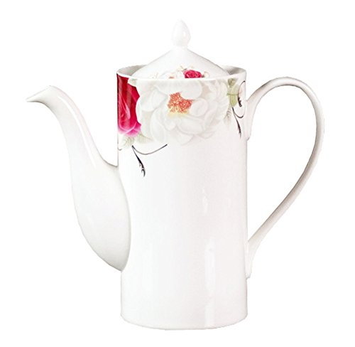 European Royal England Bone China Ceramic Teapot Coffee Pot,Flower,White And Red Bone China Coffee Pot
