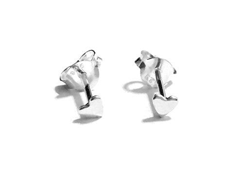 18 gauge (1mm) 925 Sterling Silver Post Earring Stud Cartilage Women Men Teen Girl Minimal Ear Stud Helix Simple Plain Small Heart 3mm (Solid Silver)