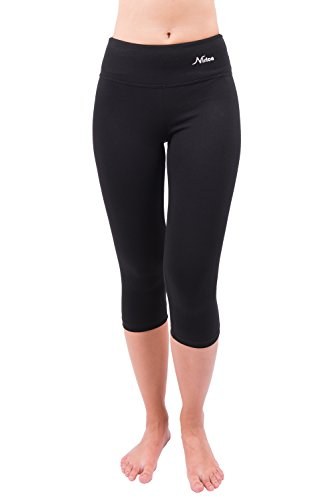 Nirlon Capri 3/4 Yoga Pants Capri's for Women Best Cropped Leggings Athletic Running Jogging Workout & Sport Cotton Spandex (L, Black 18