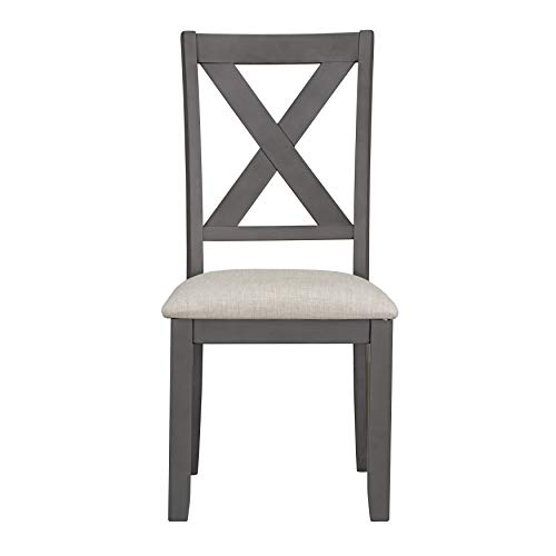 Sandpiper Farmhouse Upholstered Dining Chairs, Grey Set of 2