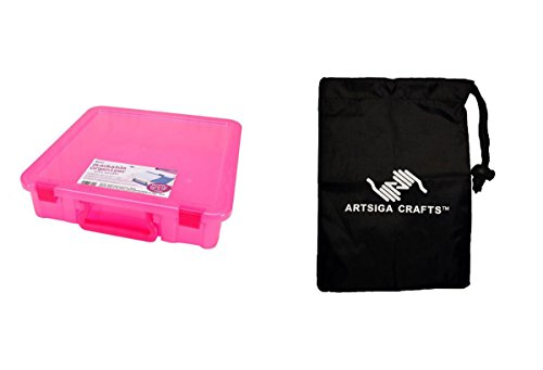 Darice Papercraft Storage Organizer w/ Handle Magenta 14 x 14in. (6 Pack) 2025 402 bundled with 1 Artsiga Crafts Small Bag by Artsiga Crafts Papercraft Storage