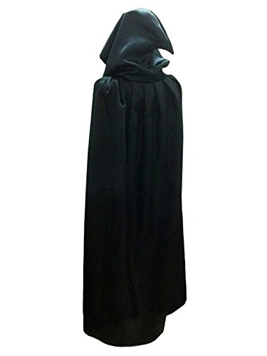 [WESTLINK Cloak with Hood Costume Hooded Cape For Men Women (43 - 66inches) Black] (Costume Black Cloak)