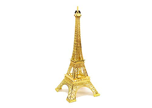 Ethrift Metal Eiffel Tower Statue Figurine Replica Centerpiece (Gold, 7 inches)