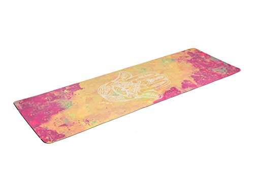 Cheap Zennery Combo/Deluxe Yoga Mat (Hamsa Hand- Watercolor Gold)