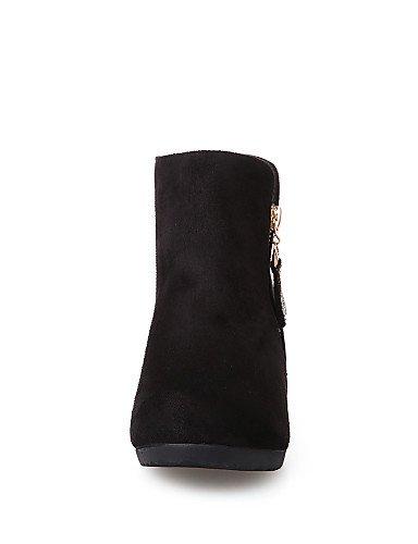 foncé Bottes Daim Imitation Chaussures pour Femme à Femme décontracté compensé Talon Rond Chaussons Mode pour Citior Bottes noir Bout Chaussons 8OxwqHWf4