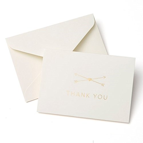 Thank You Cards Bulk - Wedding, Baby Shower, Business and Any Occasions - Gold Foil Arrows and Heart – 50 Blank Cards with Envelopes Set - Simple Classic and Elegant Design - Off-White Ivory