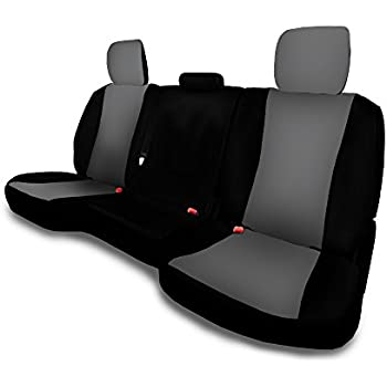 Rear 40-60 with Armrest, Black Steel Grey 40 20 40 Front and Rear Seat Covers for 2013 to 2018 Dodge Ram 22 Color Options