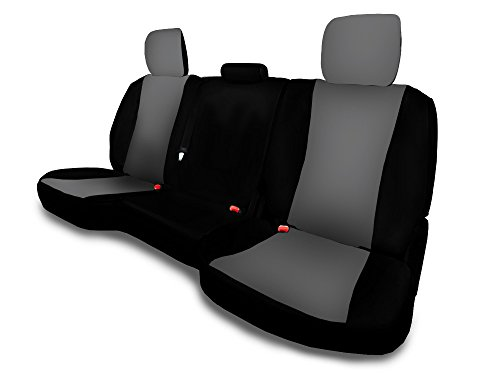 CarsCover Custom Fit 2013-2018 Dodge Ram 1500 2500 3500 Pickup Truck Neoprene Car Rear 60/40 Seat Covers without Armrest Gray & Black Sides ()