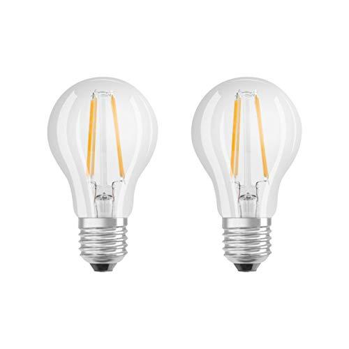 Osram Base Classic A Bombilla LED E27, 4 W, Blanco cálido, 2 Unidades