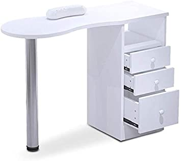 Nail Table Suncoo White Manicure Station Desk Movable Manicure Tech Table For Home Spa Beauty Salon With 2 Drawers Collect Ark 4 Lockable Wheels 47 2 X 21 3 X 30 Beauty