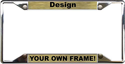 Custom Personalized 4 Hole Chrome Metal Car License Plate Frame with Free caps - Gold/Black ()
