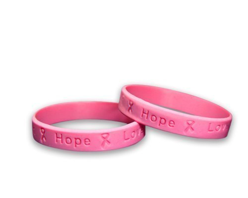 Breast Cancer Awareness Pink Silicone Bracelets - Adult Size (50 Bracelets in a ()