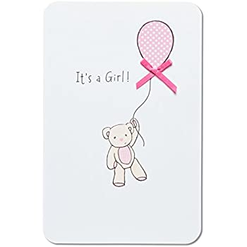 american greetings bear with balloon new baby girl congratulations card with ribbon