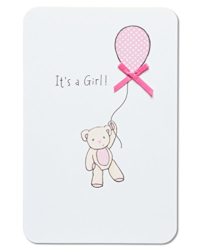 American Greetings Bear with Balloon New Baby Girl Congratulations Card with (Balloons Greeting Card)