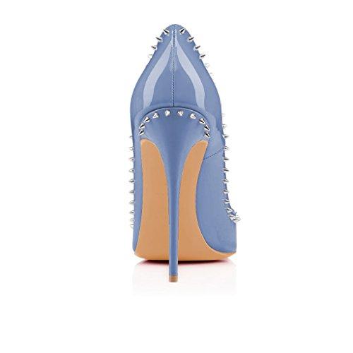 Pompe Fsj Donne Punta Indicati Tallone Stiletti Rivetti Costellato Brevetto Scarpe Di Cuoio Dimensioni 4-15 Ci Blu