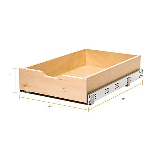 Knape & Vogt WMUB-14-4-R-ASP Soft-Close Wood Drawer Box, 5 by 14.63 by 22 (Dovetail A-drawer Dvd)
