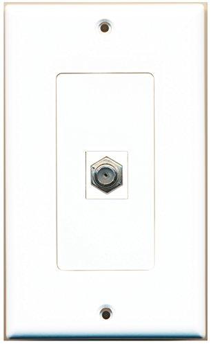 RiteAV 1 Port Coax Cable TV F Type Offset Coupler Keystone Jack Wall Plate