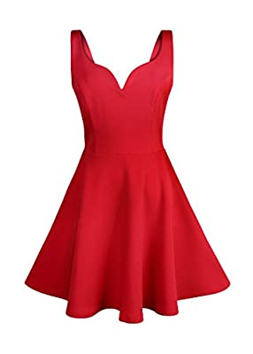 Missufe Women's Sleeveless Sweetheart Flared Mini Dress