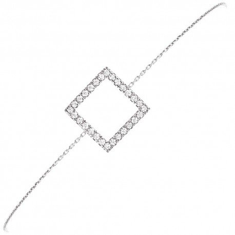 BRACELET MOTIF CARRE GM OR BLANC et DIAMANTS