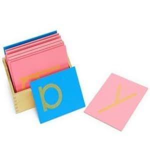 Montessori Caja con Tarjetas de Papel de Lija con Letras Lenguaje
