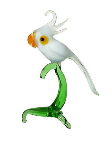 (Cockatoo White Parrot Art Glass Hand-Blown Collectible Figurine)