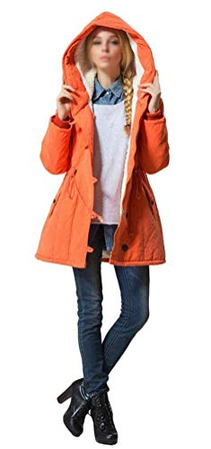 Chaqueta Manga Invierno Slim Botonadura Parka Mujer con Capa Fashion Cordón Cazadoras Elegante Fiesta con Capucha Capucha Bolsillos Naranja Abrigos Larga Otoño Vintage con Laterales Fit 8xOCxq