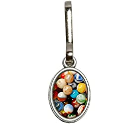 Graphics and More Glass Marbles - Games Collectibles Antiqued Oval Charm Clothes Purse Luggage Backpack Zipper Pull