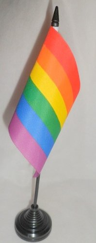 Flag 18 Pack Of 12 Gay Pride Rainbow 4'' X 6'' Desktop Table Flags With Sticks & Bases