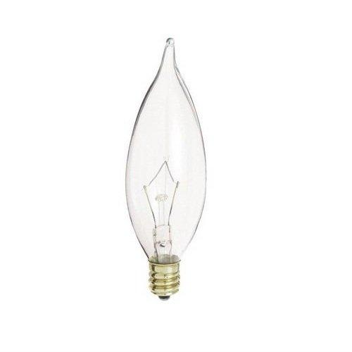 (25 Pack) S3275 40w Flame Tip Candelabra Base Clear Incandescent Light Bulb -