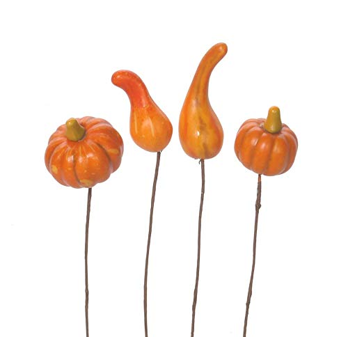 Gourd and Pumpkin Picks Assorted Styles 4 Pieces (6 Pack)