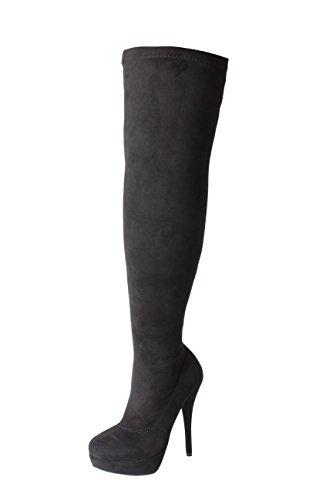 Stiefel DOK136 Hoch Schuhe Schwarz optik Knie breite Frauen Stilett strecken 36 schwarze Passform Größe 45 London über Wildleder das Overknee Tilly 15qRO6w