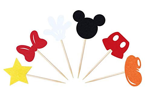 Mickey Mouse Inspired Cupcake Toppers (Set of 30) Kids Birthday Party Supplies Decorations Baby Shower Parties -