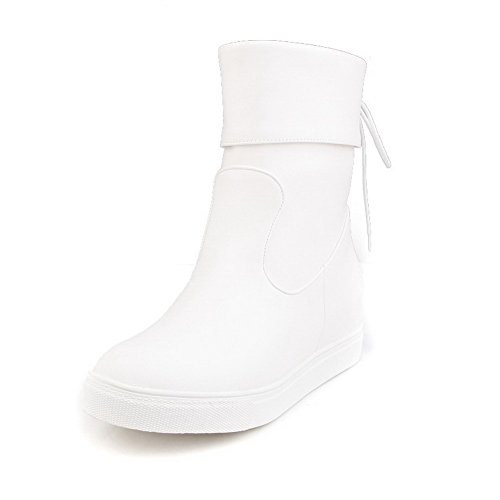 AllhqFashion Mujeres Tacón Medio Material Suave Caña Baja Sólido Sin cordones Botas Blanco