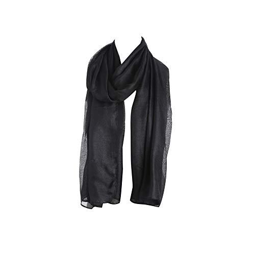 foulard châle Lin Noir Acvip Anti Echarpe Soleil Femme Couleur Pure vtqgxa