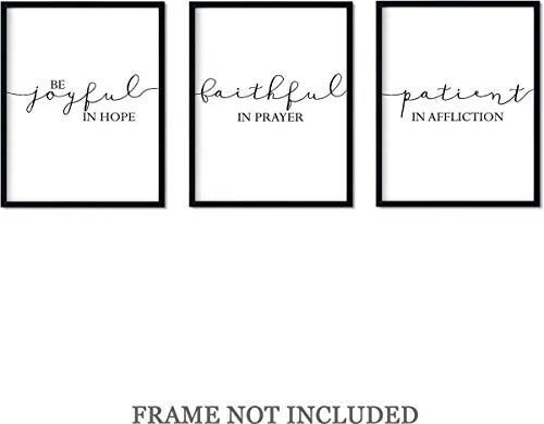 Be Joyful in Hope, Patient in Affliction, Faithful in Prayer Wall Prints Art Decor - Set of 3-11x14 unframed prints (The 3 Types Of Love In The Bible)