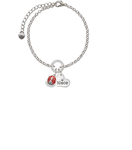 8 Silvertone Red Enamel Firefighter Helmet Niece You Are Loved Circle Bracelet