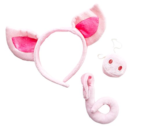 Pig Headband Ears and Tail Set - One Size - Costume Accessory Pink -