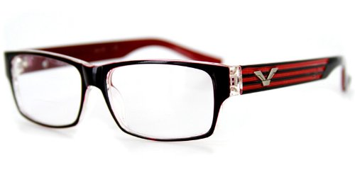 Viewpoint Fashion Bifocal Readers with Vintage Retro Design for Youthful, Stylish Men (Black & Red ()