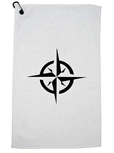 Hollywood Thread Classic Compass Directions - North South East West Golf Towel with Carabiner Clip