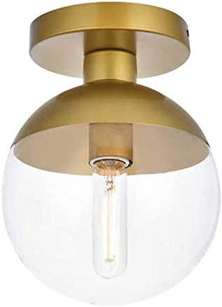 Modern Clear Glass Ceiling Light Fixture with 1-Light, A1A9 Industrial Sphere Glass Chandelier Fitting, E26 LED Semi-Flush Mount Pendant Lights for Kitchen, Bedroom, Bar, Counter, Cafe Brass
