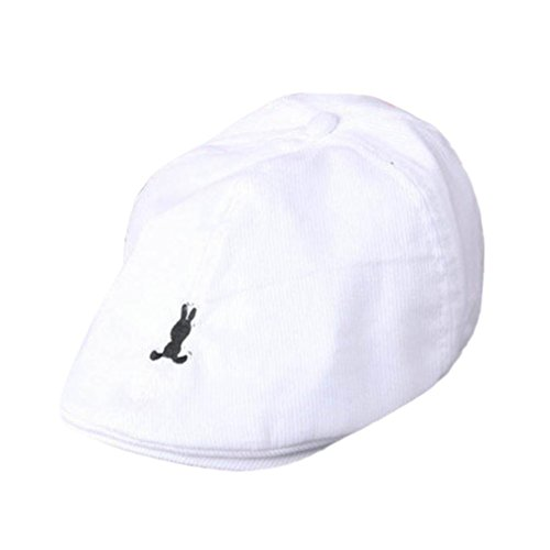 Voberry Baby Boy Kids Toddler Beret Cabbie Flat Peaked Hat River Cap (White (Boys Beret)