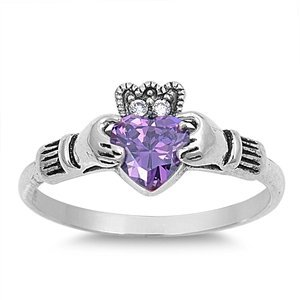 THE ICE EMPIRE JEWELRY, LLC 10MM Sterling Silver Purple Simulated Amethyst Heart Crystal Royal Celtic Hands & Claddagh Crown Wedding Ring Size 4-12