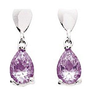 So Chic Bijoux © Boucles d'oreilles Femme Pendant Goutte Améthyste Violet Or Blanc 750/000 (18 carats)