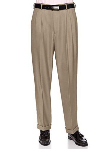 (GIOVANNI UOMO Mens Pleated Front Dress Pants with Hidden Expandable Waist Sand-46)