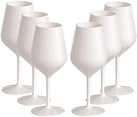 📦 CONTENIDO: En casa recibirás 6 copas de vino en plástico rígido de color blanco de 47 cl, ideales