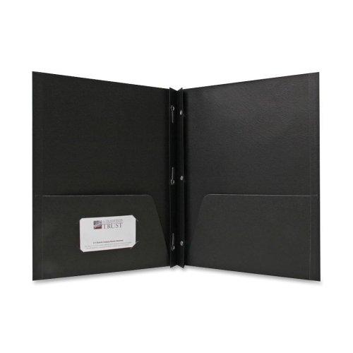 Wholesale CASE of 15 - Sparco 2-Pocket Folders w/ Fasteners-2-Pocket Folders,w/Fasteners,1/2'' Cap,Letter,25BX,Black