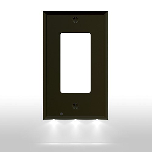 1 Pack SnapPower Guidelight - Outlet Wall Plate With LED Night Lights - No Batteries Or Wires - Installs In Seconds - (Décor, Black)