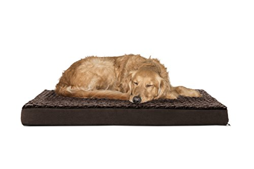 FurHaven Pet Dog Bed | Deluxe Orthopedic Ultra Plush Mattress Pet Bed for Dogs & Cats, Chocolate, ()