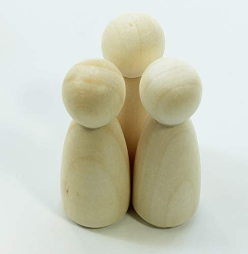 ALL in ONE Unfinished Wooden Peg Doll Body Doll People for DIY Craft Art (55mm Girl 10pcs)