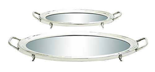 Benzara Traditional Inspired Stainless Steel Mirror Tray, Set of 2 by Benzara by Benzara (Image #1)